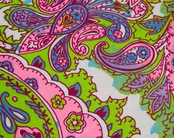 BTY Mod Paisley Cotton Fabric - Pink Green Blue 1960s Rustic Block Print B6 7