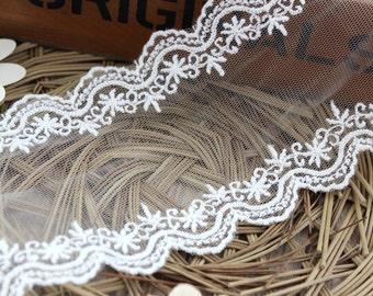 8cm scallop border cotton wedding lace trim, white embroidered lace trimming-LSE10100