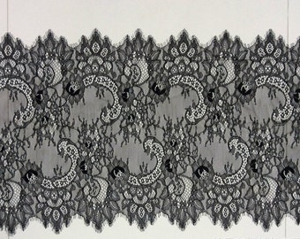 Chantilly Lace Fabric-45cm, Black Eyelash Lace Trim, Wedding Table Decor, Black Floral lace shawl -6546