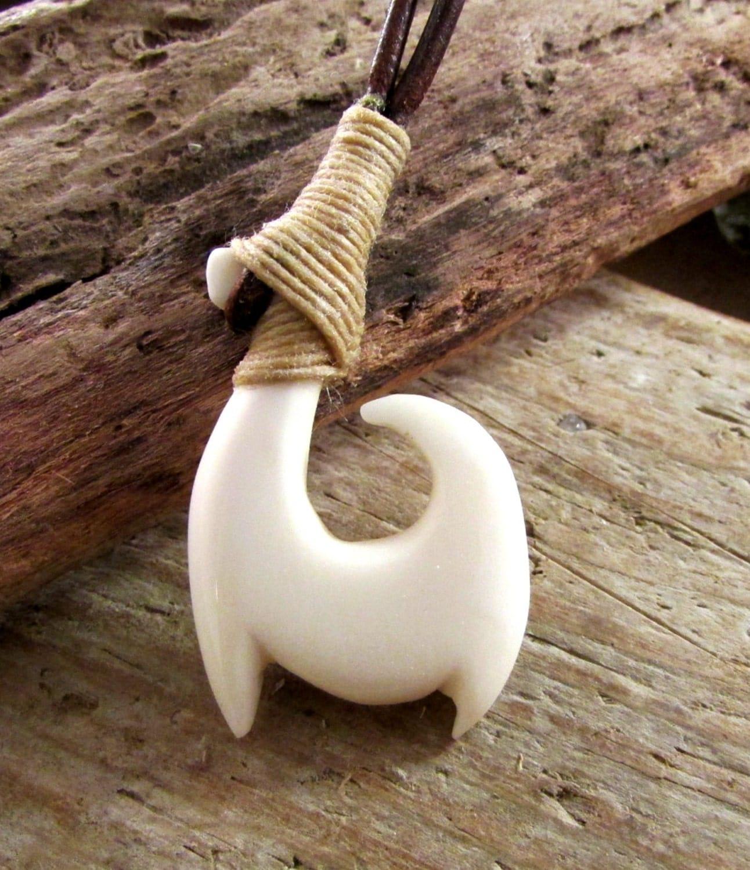 Tribal fish hook necklace hawaiian maori bone by boneythings