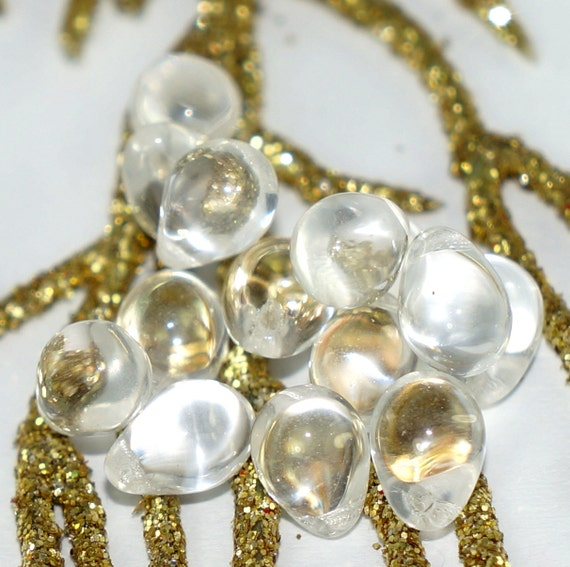 Teardrop Beads: Crystal Clear Czech Teardrop Beads Czech Glass Beads Crystal