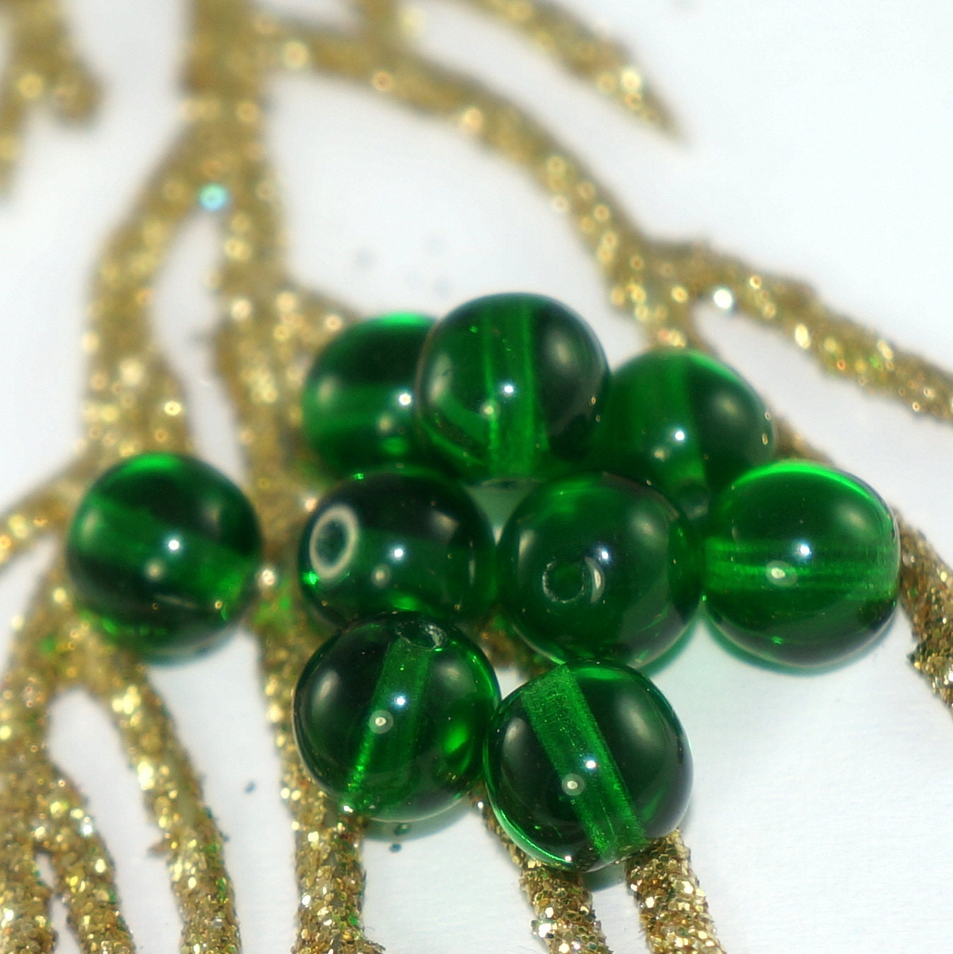 Emerald Bead Beads: Clear Emerald Green Glass Czech Round Beads By