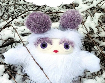 Concelia the Brumblewump - She is Not a Monster! White, furry stuffed animal.  Cute and cuddly gift.  Children's book character.