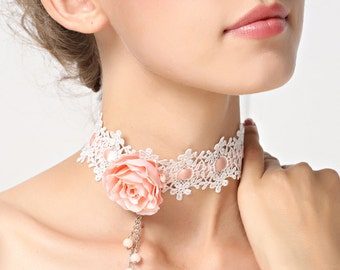 Romantic White Lace Choker Necklace with Pink Rose
