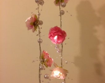 Pink Rose Garland Fairy Lights with Pearl Strings, Pink Rose Flower String Lights, Wedding Decor