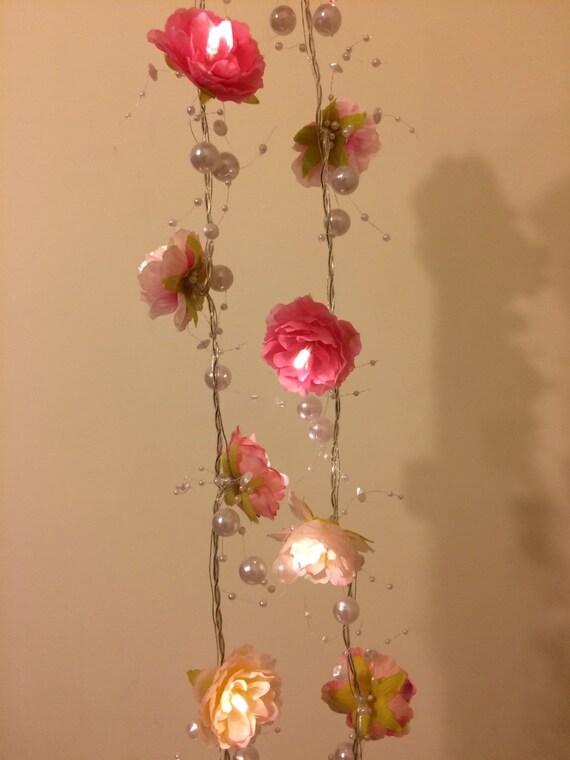 pink rose garland fairy lights with pearl strings pink rose. Black Bedroom Furniture Sets. Home Design Ideas