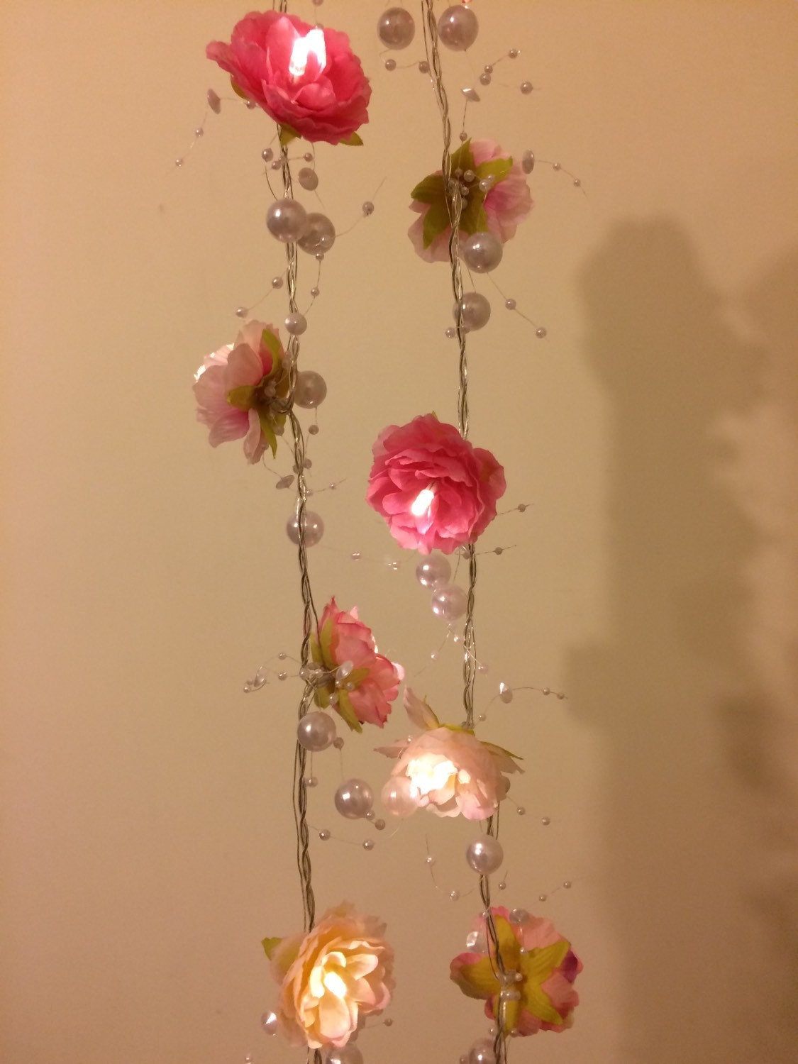 Pink Rose Garland Fairy Lights with Pearl Strings Pink Rose