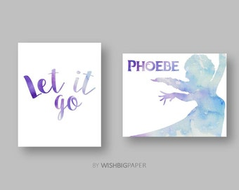 FROZEN ELSA Let It Go-Set of Two (2) Watercolour Prints-Personalised-Digital Download.Name Print.Baby.Decor.Toddler.Frozen Name Print. Sets