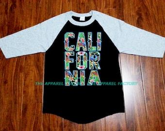New Men's California Floral Baseball T Shirt raglan 3/4 sleeve Gray/Black S-3XL