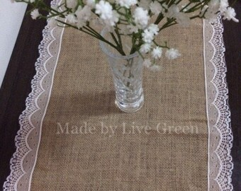 """Free Shipping,Size:12""""X110"""",Burlap table runner with lace in both sides,Jute table runner,Custom Size acceptable"""