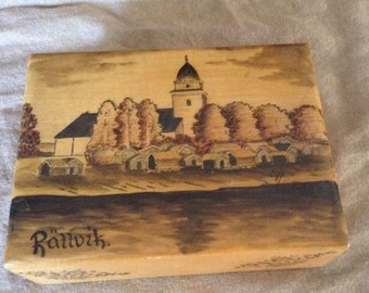 Rattvik Wooden Box With 6 Wooden Drinking Glasses Handpainted And Etched