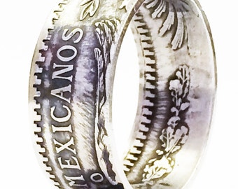 SILVER Handcrafted Coin Ring - BIG Man's Ring - 1932 Mexican 1 Peso Coin - Please select SIZE below.!!