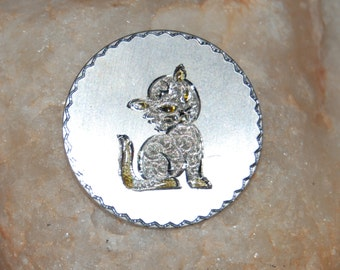 Vintage Sterling Silver Kitty Cat Feline Circular Classic 50's Etched Diamond Cut Brooch
