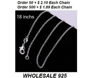 925 Sterlig Silver Filled Chain with Lobster Claw clasp - 925 stamped - 18'' inch Chain - Necklace Chain-Wholesale 925 Chain-sterling silver