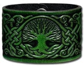 Leather Bracelet 48mm Celtic Tree of Life with Birds (8) green-antique