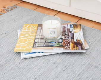 Plain grey Swedish rag rug