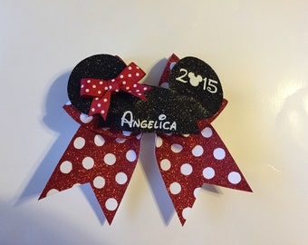 Minnie Mouse Cheer Bows  with mickey ears name and year with minnie bow on hat