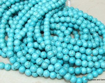 Magnesite Round Beads. Turquoise Blue Magnesite Bead Strands - 8mm - 15 inch Strand.
