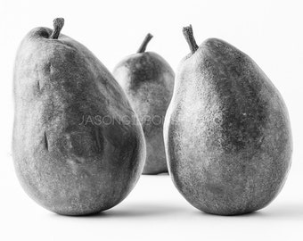 Pear Photography, Food Photo, Wall Art, Kitchen Decor, Food, Black and White, Pear
