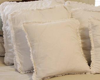Cotton Ruffle Edge Pillow cover 18 X 18
