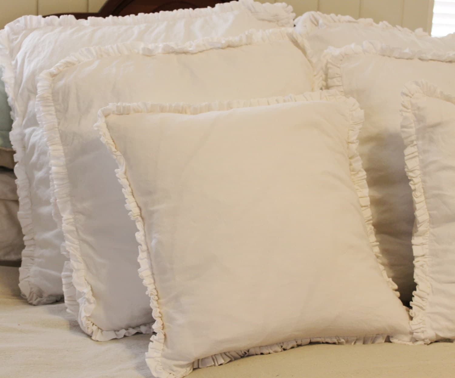 Throw Pillows With Ruffle Edge : Cotton Ruffle Edge Pillow cover 18 X 18 washed vintage white