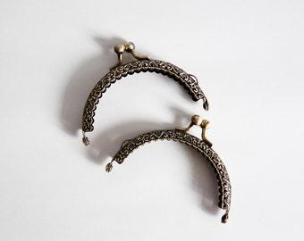 8.5cm high quality semicircle bronze kiss lock coin purse frame