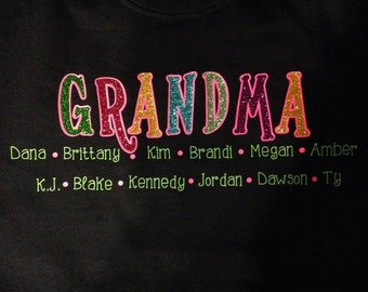 Glitter GRANDMA Sweatshirt Shirt With Children/ Grandchildren Names