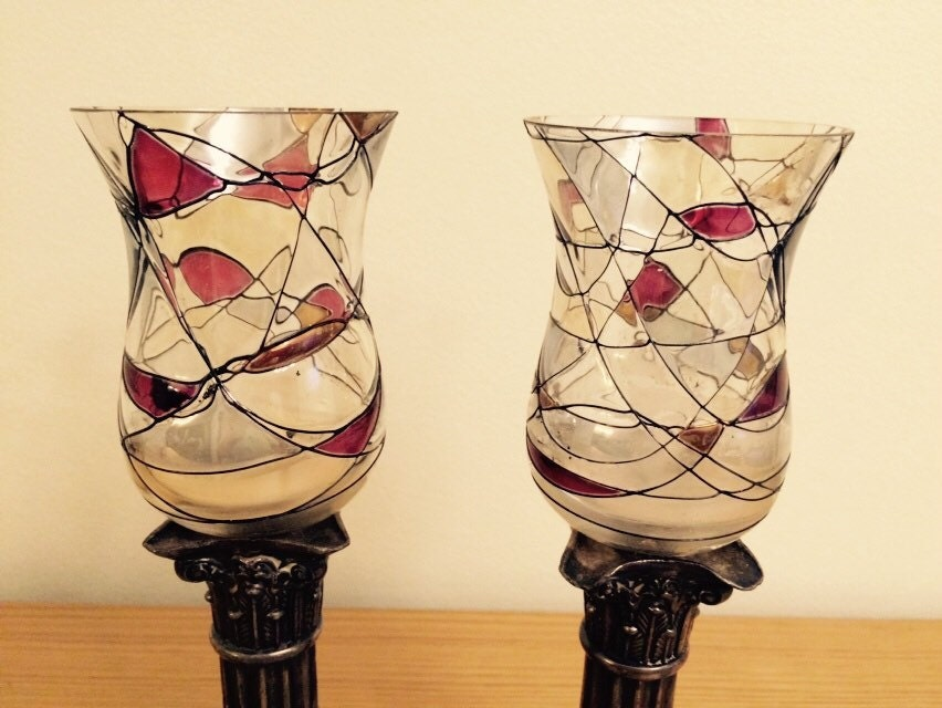 partylite mosaic peglite glass candle holders set 2 votive. Black Bedroom Furniture Sets. Home Design Ideas