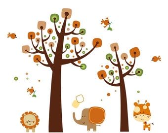 Jungle Animals - Extra Large Nursery Wall Sticker / Wall Decal AW6964 - FREE DELIVERY (Australia only)