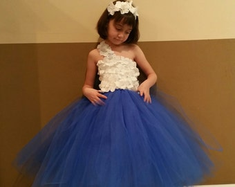 Royal blue & white flower girl dress/ Junior bridesmaids dress/ Flower girl pixie tutu dress(many colors available)