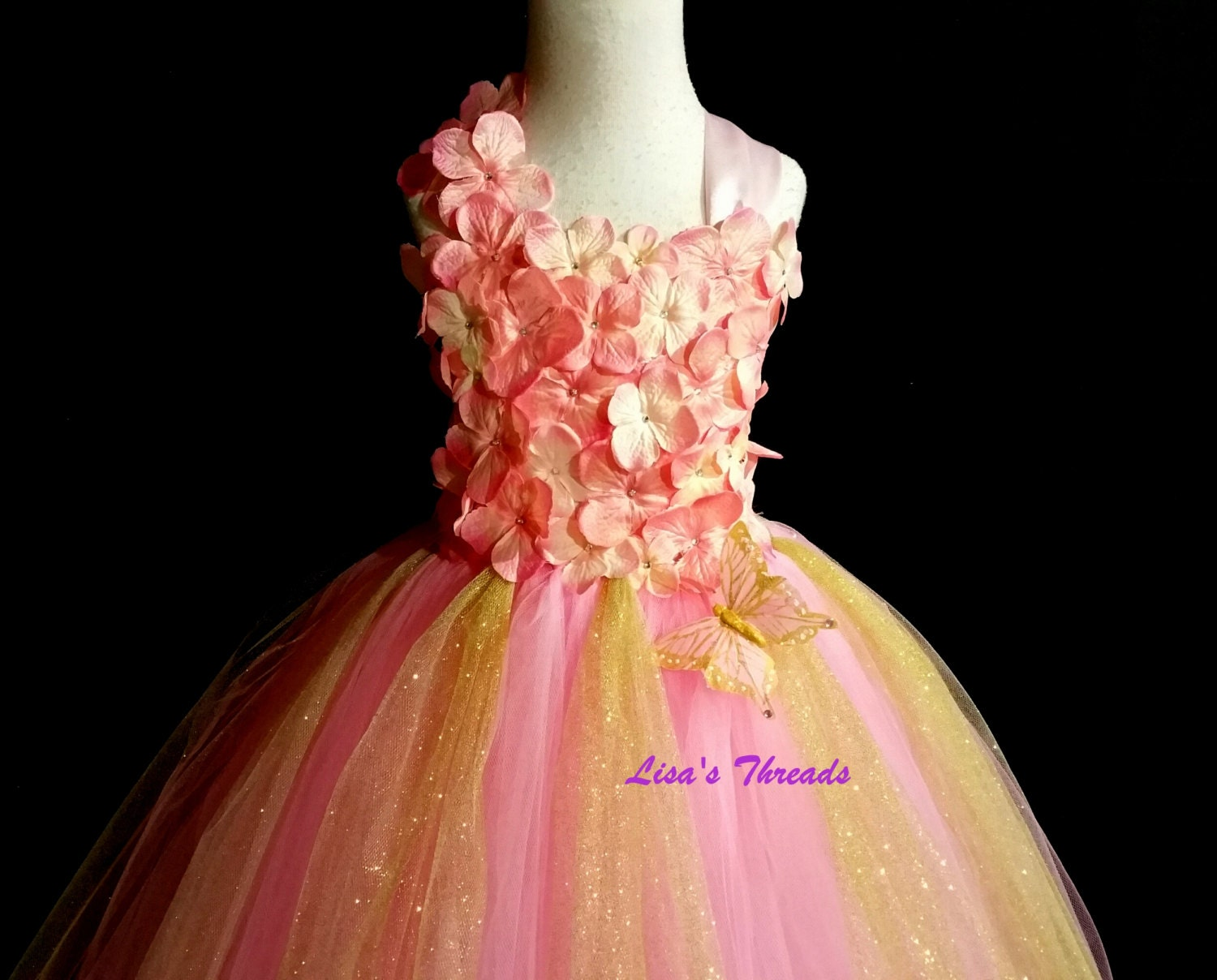 Gold & Pink Fairy Dress Gold and Pink flower girl by LisasThreads