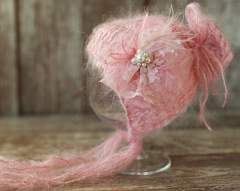 Dusty Rose Mohair Newborn Baby Girl Hat, Pink Baby Girl Bonnet, Vintage Hat, Knit baby hat, Flower Hat, Photo prop, Photography Hat