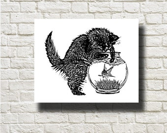 Cat and Fish Silhouettes Printable Graphics Instant Download AN13061