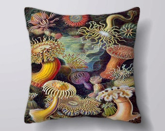 Vintage Flower Pattern ernst haeckel illustration - Can Be Customizeable Personlized   -Cushion Fabric Panel Or Case or with Filling