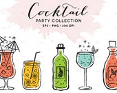 Digital Cocktail Glasses Clipart // Wine Glasses Illustration // Drinks Drawing // Martini Glasses / Bottles Illustration