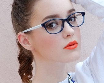 French Style Deep Blue Contrast White Cat Eye Frame