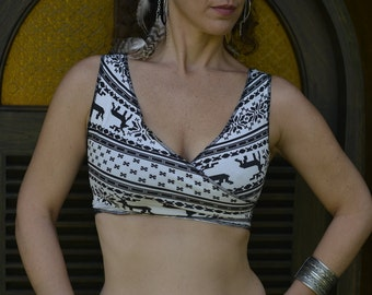 Tribal fusion, belly dance top, festival top