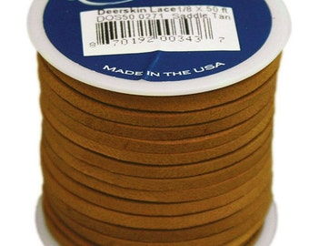 Saddle Tan Leather Deerskin Lace, Tan Colored Deerskin Lace For Leathercrafts Or Other Purpose Crafting, Leather Lace Crafting Lace Material