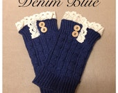 Fashionable Fall SALE: Knit Lace Motif Button Accent Denim Blue, Boot Topper, Leg Warmer, Boot Cuff, Blue, Women's Accessories