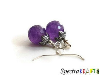 Lavender Jade Dangles - Lavender and Silver Earrings - Small Earrings - Handmade