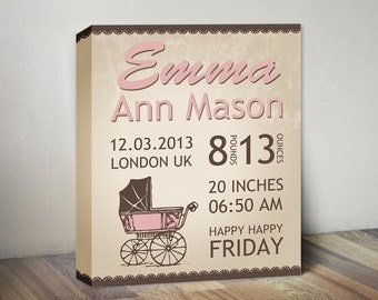 Framed baby gift baby boy personalized baby birth retro baby birth stats announcement canvas baby girl announcement birth stats newborn print negle Choice Image