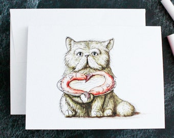 LOVE Cat Valentine Cards w/Envelopes {8-Pack}