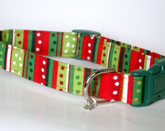 "Handmade Holiday Striped & Dot Design Dog Collar ""New"""