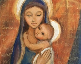 Original Oil Painting of Mary and Baby Jesus with Baby Jesus Hugging Mary