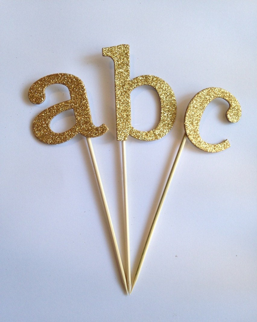 Letter Cake Topper Gold Glitter By Papercyn On Etsy