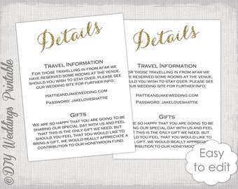 Wedding Gift Information Card : ... information card digital wedding details card you edit word download 8