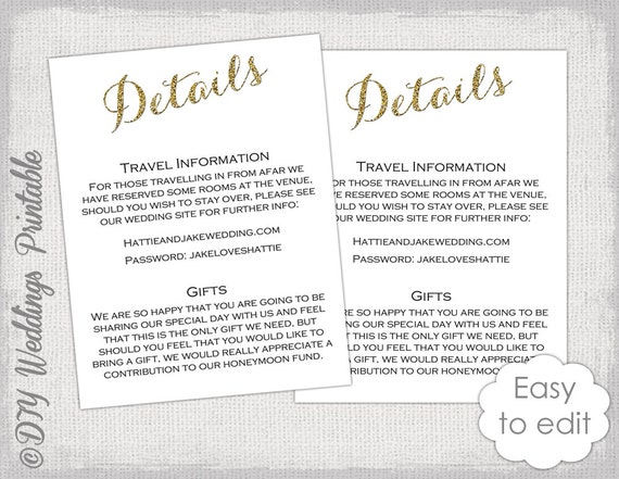 Wedding Invite Information: Wedding Enclosure Template DIY Calligraphy Gold