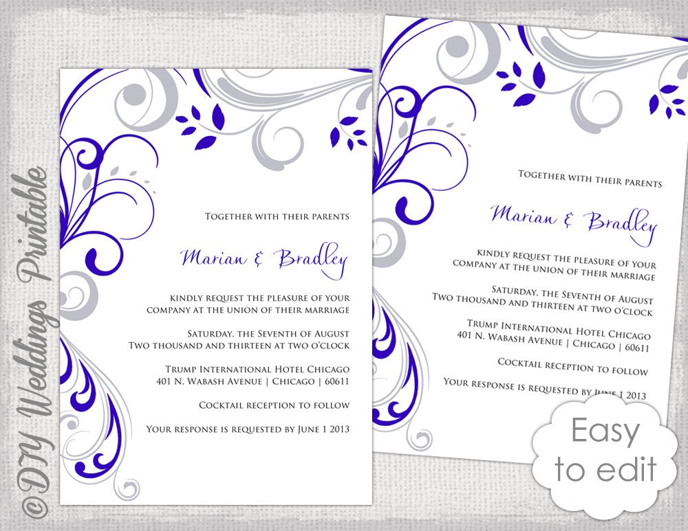 Wedding Invitation Designs Royal Blue: Wedding Invitation Template Silver Gray And Royal Blue