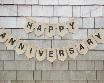 Happy Anniversary Bunting, Anniversary Banner, Anniversary Garland, Anniversary Decor, Personalized Anniversary, Burlap Bunting, Rustic