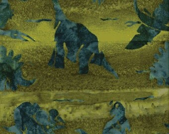 Benartex Yellow Green Dinosaurs Elements II Batiks Fabric by the Yard 1941B-34